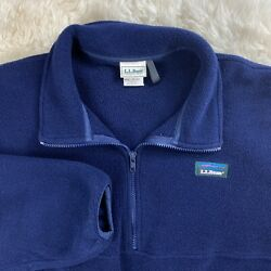 Vintage LL Bean 1 2 Zip Fleece USA Freeport Maine Large Pullover Navy Blue EUC $32.99