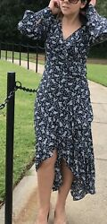 Chelsea Violet Dress Maxi Large High Low Ruched Long Sleeve Blue New $138 $32.99