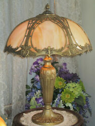 SIGNED ANTIQUE SLAG GLASS 6 PANEL ELECTRIC TABLE LAMP $825.00