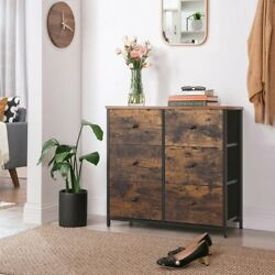 6 Drawer Dresser Chest Shoe Cabinet Organizer Rustic Bedroom Furniture Entryway $152.99