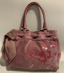 JUICY COUTURE Large Pink Velour Butterfly Leather Daydream Handbag $50.00
