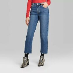 Women#x27;s High Rise Straight Leg Ankle Length Jeans Wild Fable Medium Wash Sizes $15.29