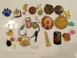 LOT OF VINTAGE amp; MODERN CHARMS PENDANTS SHELL RHINESTONE AND MORE $25.00