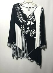Parsley amp; Sage Black White Embroidered Floral Patchwork Stripe Boho Plus Size 2X $34.95
