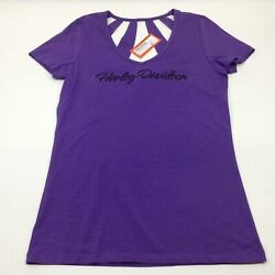 NEW Harley Womens Spark Plug Spiral Open Back V Neck Purple Short Sleeve T L XL $20.90