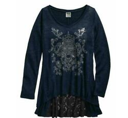 NEW Harley Womens Lace Back Hi Low Long Sleeve Top Black Small $37.05