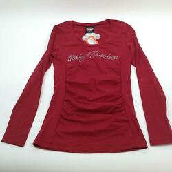 NEW Harley Womens Rider Obsession Stretch Rio Red Long Sleeve Tee Shirt Small $27.55