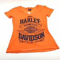 NEW Harley Womens vintage s s orange teeshirt black letters Small $28.49