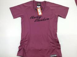 NEW Harley Womens Parked Synthetic Ruching Pink Short Sleeve Medium Large $37.05