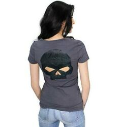 NEW Harley Womens Skull Back Cutout V Neck Charcoal Tee Medium $27.55