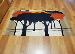 Awesome RARE Vintage Mid Century retro 70s Tampella Apia trees forest fabric $45.00