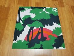 Awesome RARE Vintage Mid Century retro 70s grn trees pink org sunset fabric WOW $18.00