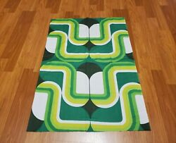 Awesome RARE Vintage Mid Century retro 70s yel grn abstract stripe fabric LOOK $30.00