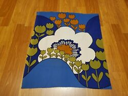 Awesome RARE Vintage Mid Century retro 70s 60s blu floral tulip hill fabric WOW $30.00