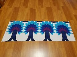 Awesome RARE Vintage Mid Century retro 70s bright blue palm trees fabric LOOK $32.00