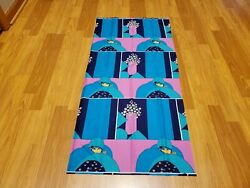 Awesome RARE Vintage Mid Century retro 70s bright pink and blue art deco fabric $30.00