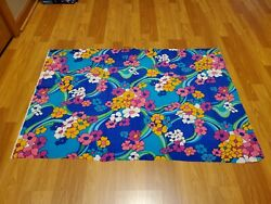 Awesome RARE Vintage Mid Century retro 70s 60s fuzzy bright floral swirl fabric $22.00