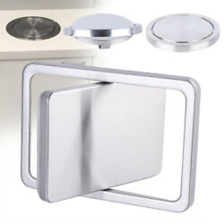 Round Square Built in Countertop Trash Bin Cover Brushed Steel Swing Flap Lid $28.51