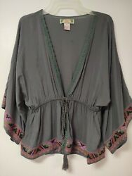 FLYING TOMATO Kimono Style Boho Embroidered Trim Bell Sleeve Tassel Tie Front M $14.99