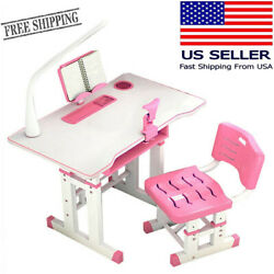 Children#x27;s Study Desk Home Small Table Writing Desk And Chair Set Free LED Light $80.37