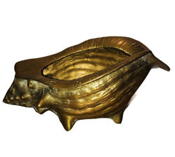 Vintage Brass Conch Shell Planter Flower Pot Container $21.99