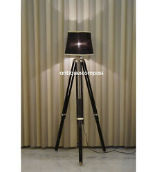 Floor Shade Lamp Black Tripod Stand Handmade Nautical Home Decor WITHOUT SHADE $95.50