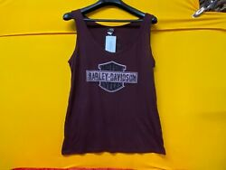 🔥Harley Womens Tank Top Burgundy Harley Logo St.Paul XL🔥 $24.95