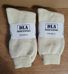 DLA Troop Support Men#x27;s Size 12 Socks 80% Wool 20% Cotton Made In USA 2 pairs $14.80