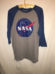 Fifth Sun Size Large Men#x27;s Blue NASA Long Sleeve Jersey Style Graphic T Shirt $19.99