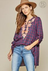 Plus Size Boho ANDREE BY UNIT Embroidered Plaid Tunic Top Long Sleeve 1X 2X 3X $29.99