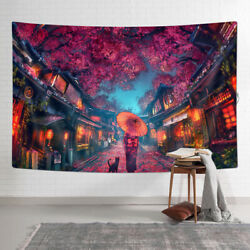 Japanese Geisha and Sakura Tapestry Wall Hanging for Room 90x60cm $9.19
