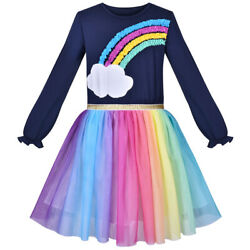 Girls Dress Rainbow Colorful Tulle Skirt Long Sleeve Holiday Party Size 4 8 $17.95