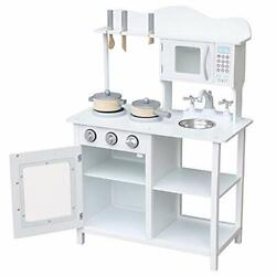 Play Kitchen for Toddlers Wooden Kitchen Toys Pretend Play White Cookin $107.99