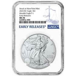 2021 W $1 American Silver Eagle NGC MS70 Blue ER Label $65.50