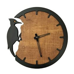 Woodpecker Wall Clock Modern Home Décor Wooden Wall Clock Living Room Clock $45.99