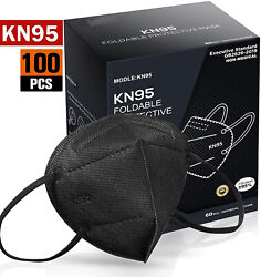 100 200 Pcs Black Color KN95 Protective 5 Layer Face Mask Disposable K N95 Marks $22.98