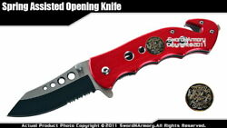 Spring Assisted Opening Knife Tanto Blade Rescue Pocket Folder Paramedic Red $9.98