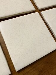 """10 Vintage Ceramic Wall Tiles 4.25"""" 4 1 4"""" White Gold Dust Speckle 1970s $50.99"""