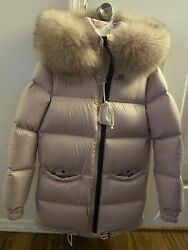 Authentic Mramp; Mrs Italy Pink Puffer Coat Jacket with Oversized Real Fur Hood XXS $595.00