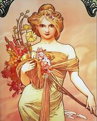 Lady in Yellow with Flowers by Alphonse Mucha 8 X 10 PRINT $7.99