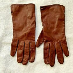 COACH Women Gloves Leather Brown Lining 100% Silk Lightweight Size 7.5 Italy $24.00