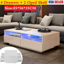 High Glass LED Coffee Cocktail Table Living Room Furniture w Shelf amp; 4 Drawer $155.78