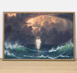 Jesus Walks On The Water Christ Gift For Christian Wall Decor Poster No Frame $19.95