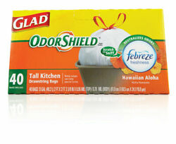 Glad OdorShield 13 gal. Hawaiian Aloha Scent Tall Kitchen Bags Drawstring 40 pk $21.99