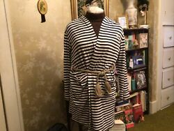 Ralph Lauren Navy And White Stripe Jersey Hooded Beach Cover up Robe L $12.99