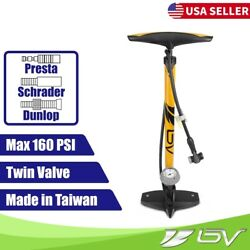 BV Bike Pump Floor With Gauge Presta Dunlop Schrader Tire Air Inflator 160PSI $24.99