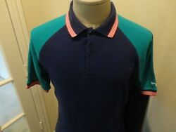Vtg 80#x27;s Spalding Blue Teal Colorblock 70 30 Polo Shirt Rare Find $24.64