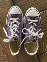 Converse All Star Kids Shoes Size 3 Purple Girls Sneakers $15.50