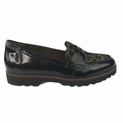 Earthies Braga Womens Calf Hair Patent Leather Penny Loafers Dark Brown 9.5 $55.97