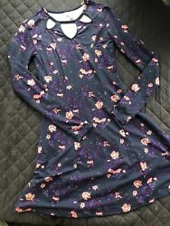 Mudd Floral Dress Juniors Size XS Women's Above Knee Key Hole X Small Polyester $13.49
